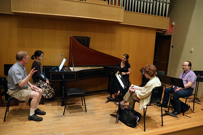 "Pictured here is the class ""Harpsichord Technique,"" taught by MEMF faculty John Chappell Stowe"