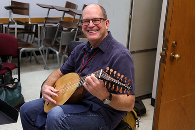 "MEMF co-artistic director Paul Rowe in ""Renaissance Lute Technique,"" taught by MEMF faculty Ronn McFarlane"