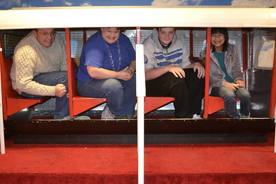 We all squeezed into seats on the old Monorail car that used to go around Toyland when the building housed Meier & Frank.