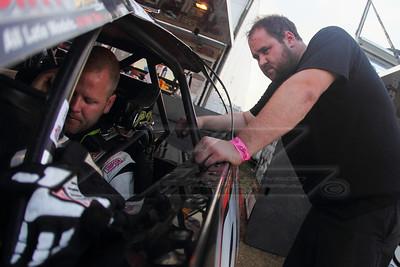 Crew member JC Crockett and driver Chris Brown