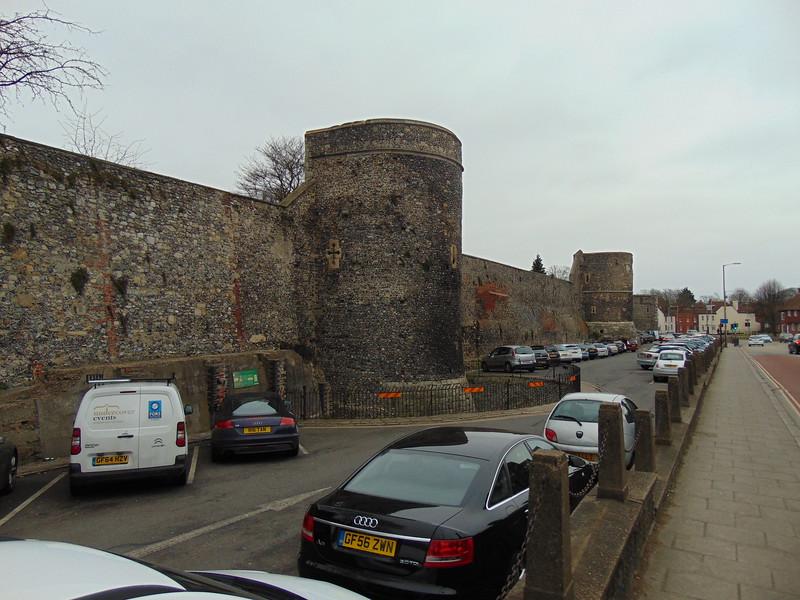 The Canterbury City Walls alongside Broad Street.