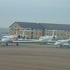 Business jets lined up at London Luton Airport.