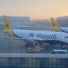 Monarch Airbus A320 G-ZEAS at London Luton Airport.