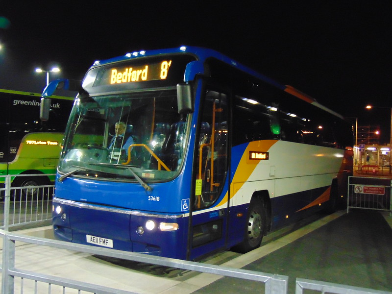 Stagecoach Volvo Plaxton Panther AE11FMF 53618 at Luton Airport ready to head to the town centre to form the 81 to Bedford after arriving as the 99.