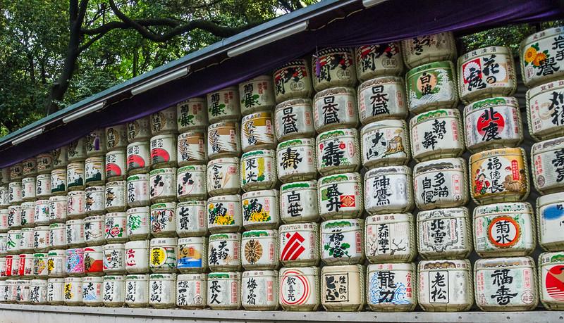 Sake barrels at Meiji Jingu gardens