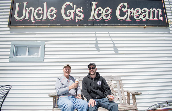 "JOED VIERA/STAFF PHOTOGRAPHER-Pendelton, NY- Father and son, Paul and Zak Cain met up to enjoy some Uncle G's Ice Cream. ""It's a yearly tradition"" said Paul."