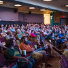 "JOED VIERA/STAFF PHOTOGRAPHER-Lockport, NY-A crowd listens as Sarah Glann, Dr. Tammy Milillo, Shirley Nicholas and Tanya Stadelmann speak before a screening of ""This Creek"" at the Palace Theatre."