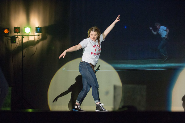 JOED VIERA/STAFF PHOTOGRAPHER-Lockport, NY-Maddie Gutshow dances to Jamiroquai's Canned Heat in the style of Napoleon Dynamite during Lockport High School Talent Show.