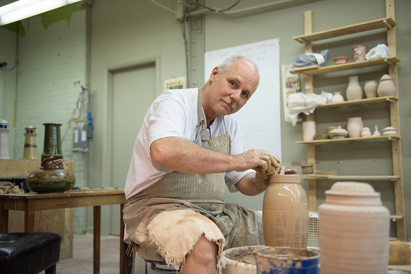 JOED VIERA/STAFF PHOTOGRAPHER-Lockport, NY- Russell Halstead works on pottery in his workshop.