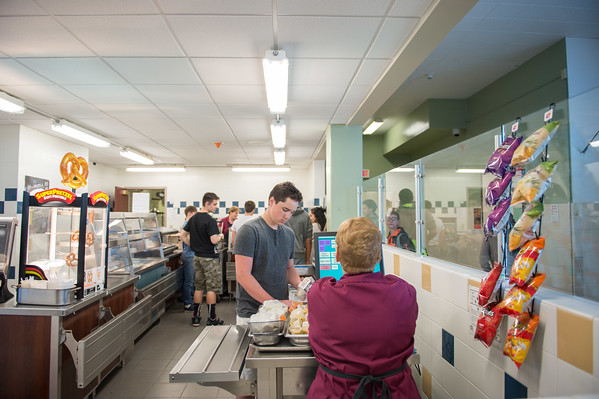 JOED VIERA/STAFF PHOTOGRAPHER-Lockport, NY- Students line up for lunch at Lockport High School.