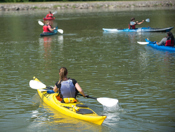 JOED VIERA/STAFF PHOTOGRAPHER-Lockport, NY-Ali Thompson leads Wyndam Lawn students on a kayak ride down the canal.
