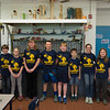 JOED VIERA/STAFF PHOTOGRAPHER-Lockport, NY-The Robot Rockers Shawn Sanford 10, Zachary Snuszki, Emily Clifton 11, Savannah Shine 11, Logan Wendt 12, Ben Sielski 11, Joshua Frank 10, Mackenzie Phelps 12, Donovan Monaco 9 and Ashley Smith 11 stand in their workshop at Emmett Belknap.