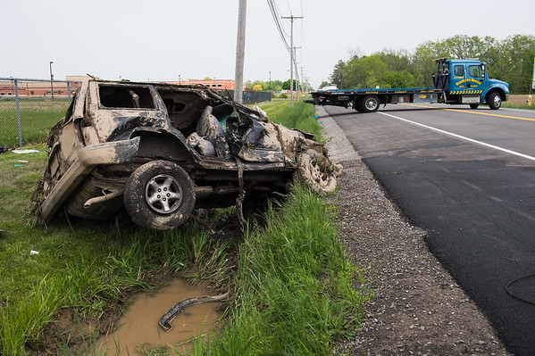 JOED VIERA/STAFF PHOTOGRAPHER-Pendleton, NY-The scene of an accident on Mapleton Road that caused a meeting to discuss changing the speed limit by Starpoint.