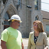JOED VIERA/STAFF PHOTOGRAPHER-Lockport, NY-Lockport Mayor Anne McCaffrey speaks with NYSEG's Tom Hinton after officially re-opening LaGrange to drivers.