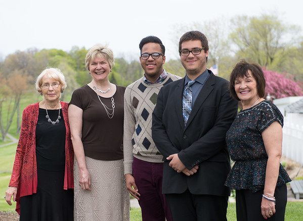 JOED VIERA/STAFF PHOTOGRAPHER-Lockport, NY- Cynthia Cotten, Eileen Chapman, Kavyia Spencer, Cameron Seib and Sandra Harmon stand outside the Lockport Town and Country Club during the Kenan Arts Council Scholarships luncheon. Spencer and Sieb both were awarded the scholorship.