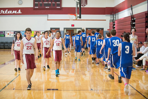 JOED VIERA/STAFF PHOTOGRAPHER-Pendleton NY- Starpoint's and Newfane's Unified Sports teams prepare for a scrimmage at Starpoint High School.