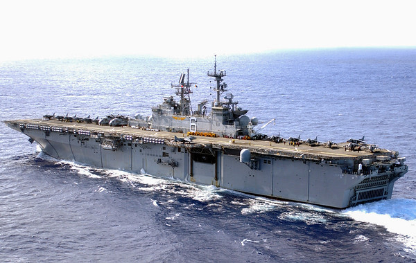 030127-N-1352S-009<br /> At sea aboard USS Bonhomme Richard (LHD 6) Jan. 27, 2003 - The amphibious assault ship USS Bonhomme Richard (LHD-6) deployed with the seven-ship Amphibious Task Force West (ATF-W) in support of Operation Enduring Freedom (OEF) from her homeport of San Diego, Calif. U.S. Navy photo by Photographer's Mate 2nd Class Jennifer Swader. (RELEASED)