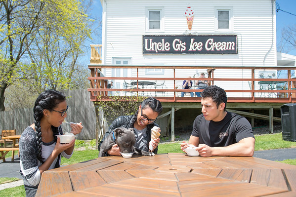 JOED VIERA/STAFF PHOTOGRAPHER-Pendelton, NY- Diamond, Melody and Albert Marcantonio enjoy some Uncle G's Ice Cream with their Stanford Shire Bull Terrier Ares.