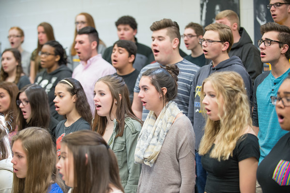 JOED VIERA/STAFF PHOTOGRAPHER-Lockport, NY- Students that will be joining choir alumni in a special end of year concert rehearse at Lockport High School.