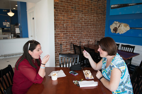 JOED VIERA/STAFF PHOTOGRAPHER-Lockport, NY- Jillian Anderton and Leanne McNall enjoy some treats at Lake Effect Ice Cream.