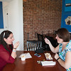 JOED VIERA/STAFF PHOTOGRAPHER-Lockport, NY- Jillian Anderton and Leanne McNall enjoy some treats at Lake Effect Ice Cream.