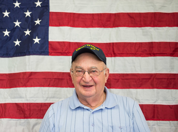 JOED VIERA/STAFF PHOTOGRAPHER-Cambria, NY-Veteran Frank Gergao is interviewed by Carl Miller for a DVD project to preserve veterans service stories for posterity. Carl performs the interviews at St. Peters Church on 4169 Church Road in Cambria. If you or any of your family members are interested in participating in the recordings you can contact the church office at 716-433-9014.