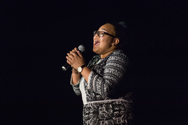 JOED VIERA/STAFF PHOTOGRAPHER-Lockport, NY-Olvia Herschell sings Beyoncé's Listen during the Lockport High School Talent Show.
