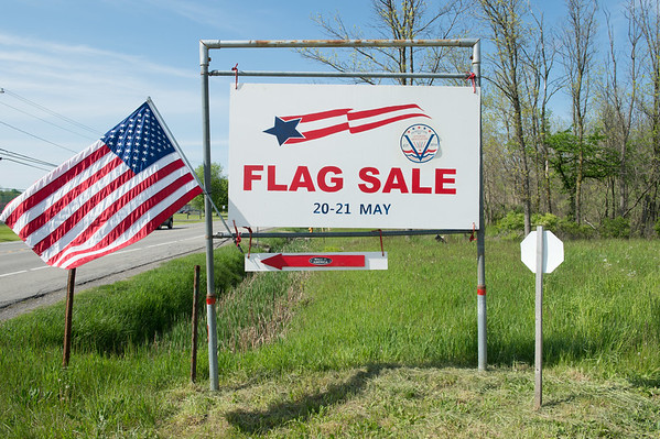 JOED VIERA/STAFF PHOTOGRAPHER-Pendleton, NY-The Pendleton Veterans Association are selling flags to raise money for a monument.