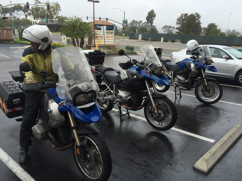Fulton on his blue GS with two others after breakfast at Gio's.