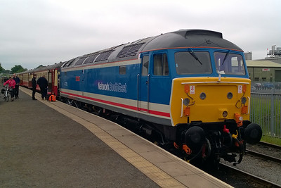 47715 shows off its recently applied Network SouthEast livery on arrival back at Leeming Bar with the 1130 from Redmire (30/05/2016)