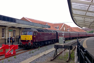"""47832 is seen at Whitby on the rear of SRPS Railtours' 1Z36 1630 return charter to Gourock. """"Tamar"""" had earlier worked forward from Battersby on the 1Z35 0555 inbound leg. This was my first visit to the town with a '47' for nearly seven years (28/05/2016)"""