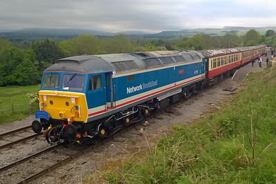 47715 'Haymarket' waits to depart from Redmire with the 1130 to Leeming Bar during the Wensleydale Railway's 'WensleyAle' Beer Festival (30/05/2016)