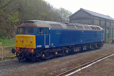 47828 is now in private hands and is based at the Dartmoor Railway. Two days after arriving at its new home, the former DRS machine is pictured at Meldon (07/05/2016)