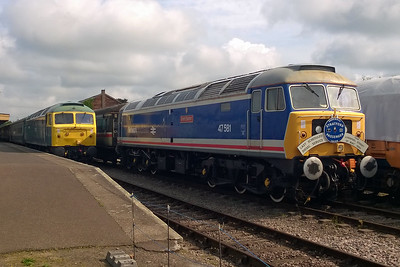 Day 2 of the Mid Norfolk Railway's 'Stratford Depot Weekend' began with both of the SF47 Group's resident machines posed side by side at Dereham. 47596 is adorned with the original headboard carried by 47581 when it worked the 1835 Liverpool Street - Kings Lynn on 12th May 1990, whilst 47367 awaits departure with the 0940 to Wymondham Abbey (22/05/2016)