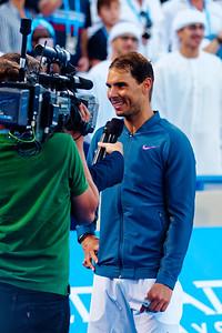 01.04 Rafael Nadal happy after the win - Mubadala WTC december 2016