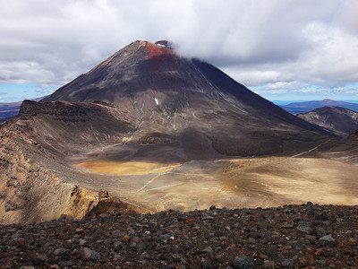 The trail passes beneath Mt Ngauruhoe - Mt Doom in Lord of the Rings. The summit is 2,291 m and a very steep side trip is possible for the brave or those who need to destroy any rings