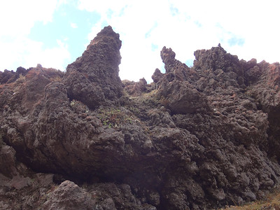 Fairly soon the landscape becomes seriously volcanic, from  which lava spires eerily arise