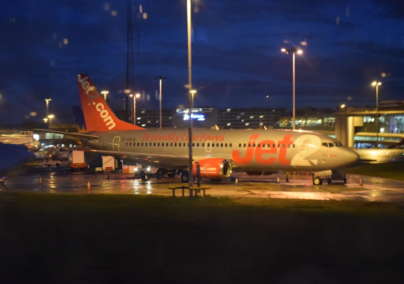 Jet2 Boeing 737 G-CELE at Manchester Airport.