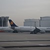 Lufthansa Airbus A330 D-AIKF with Boeing 747-8 D-ABYF at Frankfurt.