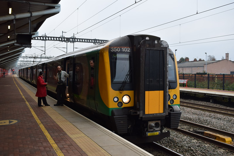 London Midland Class 350 Desiro no. 350102 at Rugby with a Crewe service.