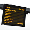 The departure board for the Westbury service at Swindon. The two-hourly service replaced a former parliamentary service in 2014.