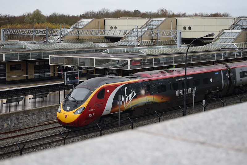 "Virgin Trains Class 390 Pendolino no. 390107 ""Independence Day: Resurgence"" at Milton Keynes Central."