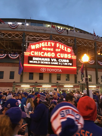 Oct. 30: Cubs World Series at Wrigley Field with Flat Bill