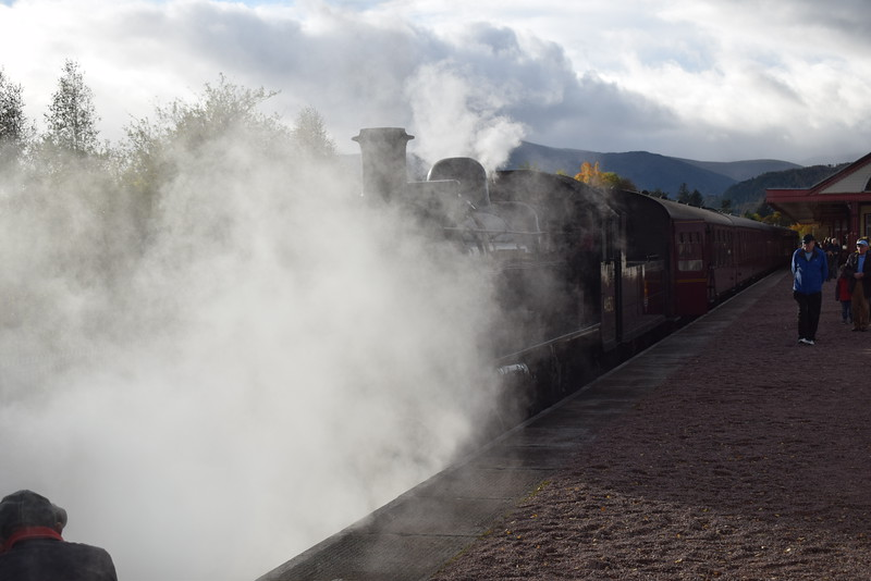 "LMS Ivatt Class 2 2-6-0 no. 46512 ""E.V. Cooper Engineer"" at Aviemore on the Strathspey Railway."