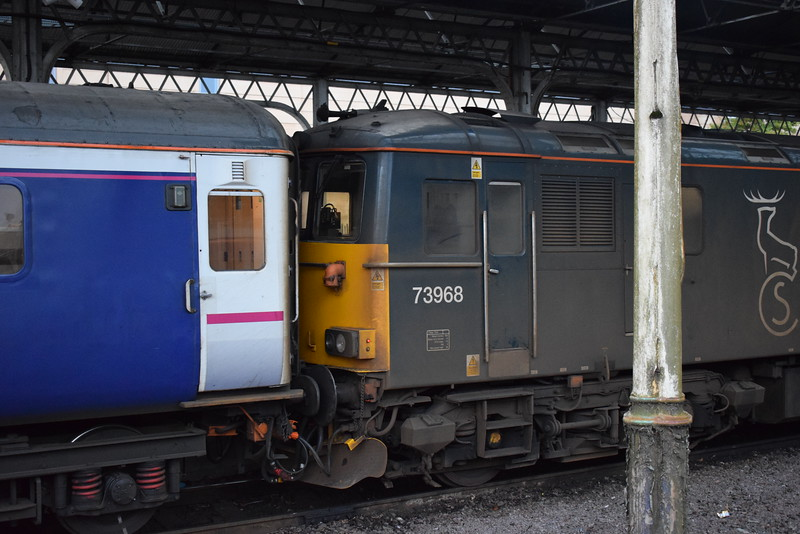 Caledonian Sleeper Class 73/9 no. 73968 at Inverness.