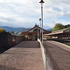 Aviemore station with the Strathspey Railway on the left and the main line platforms on the right.