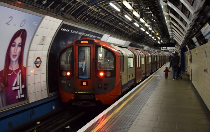 London Underground Victoria Line 2009 Stock no. 11002 leaving Victoria.