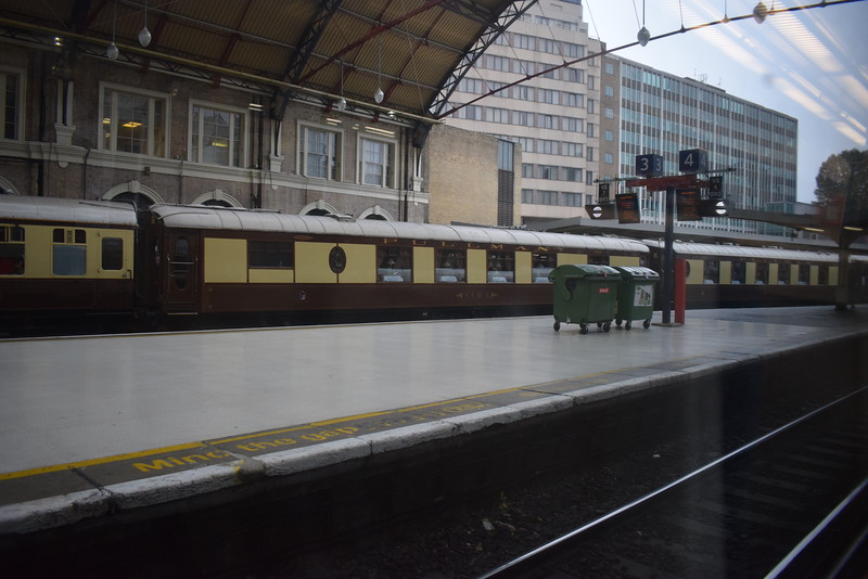 Pullman coaching stock at London Victoria.