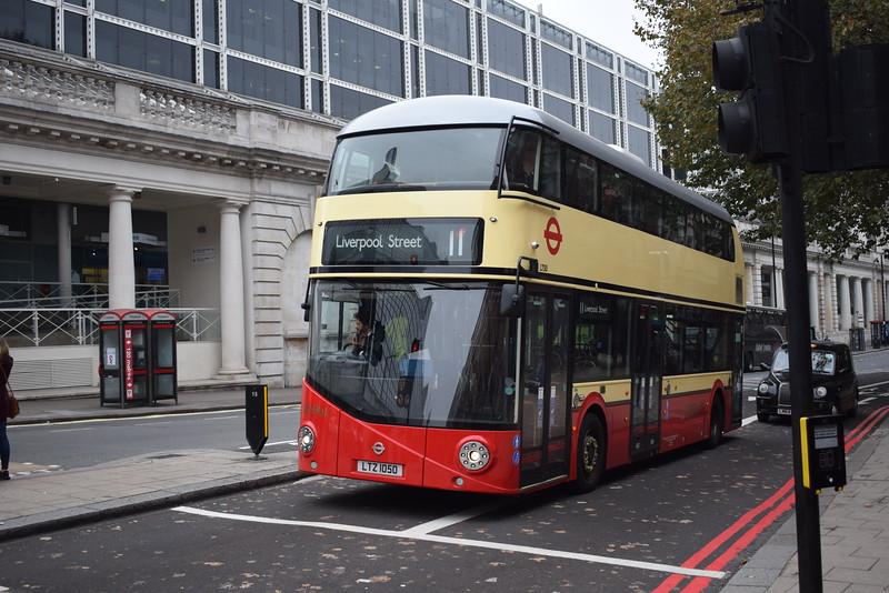 Go Ahead London General liveried Wright NB4L 'Borismaster' LTZ1050 LT50 at Victoria on the 11 to Liverpool Street.