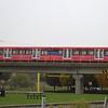A Docklands Light Railway Bombardier B09 Stock train leaving Royal Albert station.